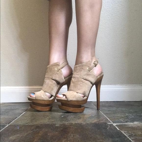 532d0732f851 Jessica Simpson Shoes - Jessica Simpson Wooden Platform Tan Heels